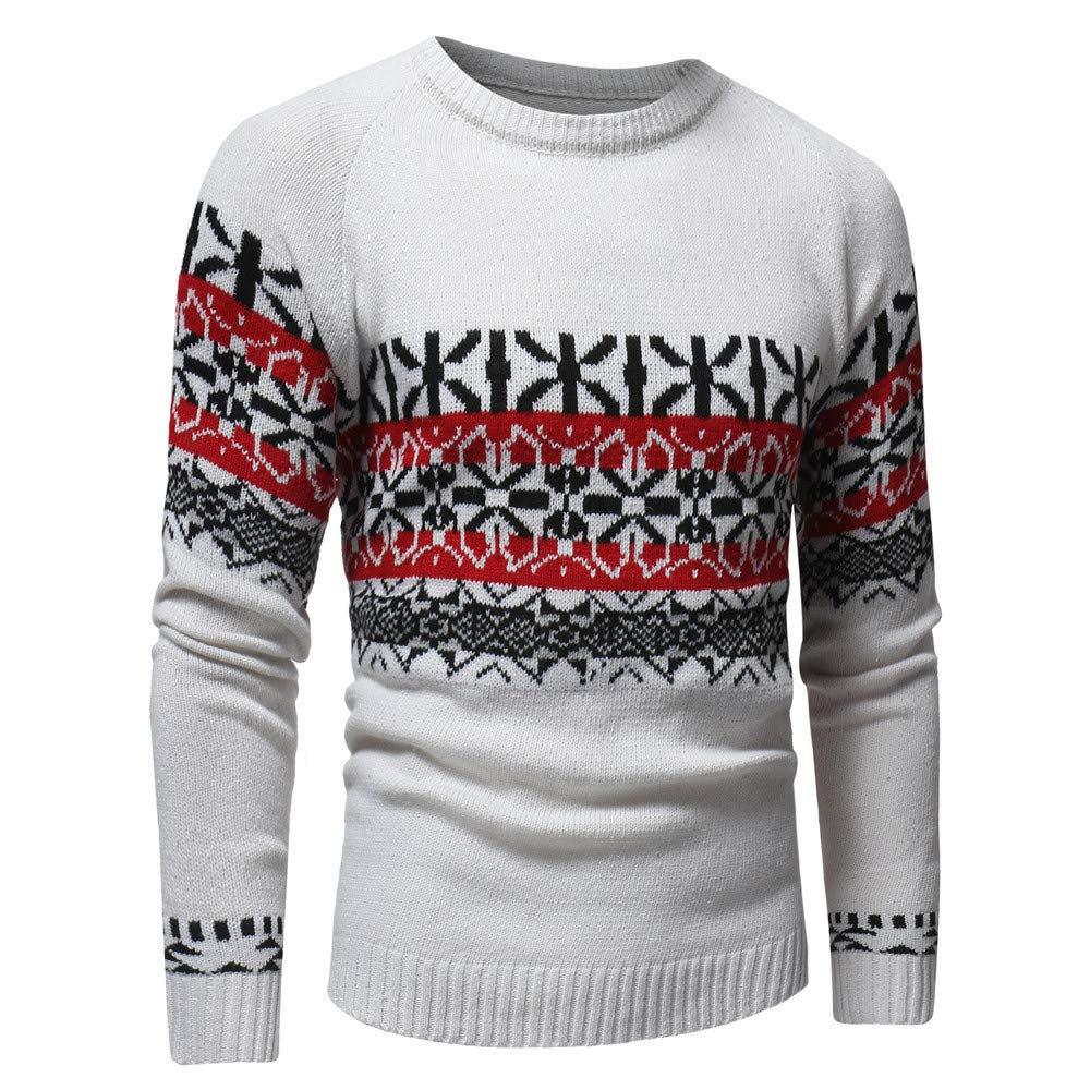 PASATO Men's Autumn Winter Casual Pullover Knitted Cardigan Coat Print Sweater Jacket Outwear Top Blouse(White, 3XL)