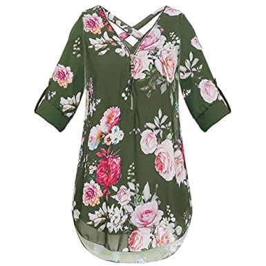 c393aac5c2c AMOFINY Clearance Sexy Women Floral Print V Neck Zipper Chiffon Blouse  Tunic Top (Army Green