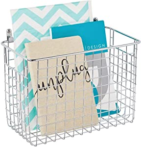 mDesign Portable Metal Farmhouse Wall Decor Storage Organizer Basket Bin with Handles for Hanging in Entryway, Mudroom, Bedroom, Bathroom, Laundry Room - Wall Mount Hooks Included, Large - Chrome