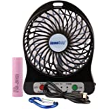innobay Personal Fan Rechargeable Battery Operated with LED Light, Quiet (4-inch, Black)