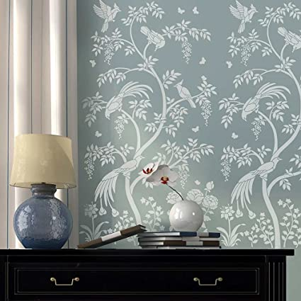 Gentil Birds And Berries Chinoiserie Wall Mural Stencil   DIY Asian Garden Decor    Reusable Stencils For