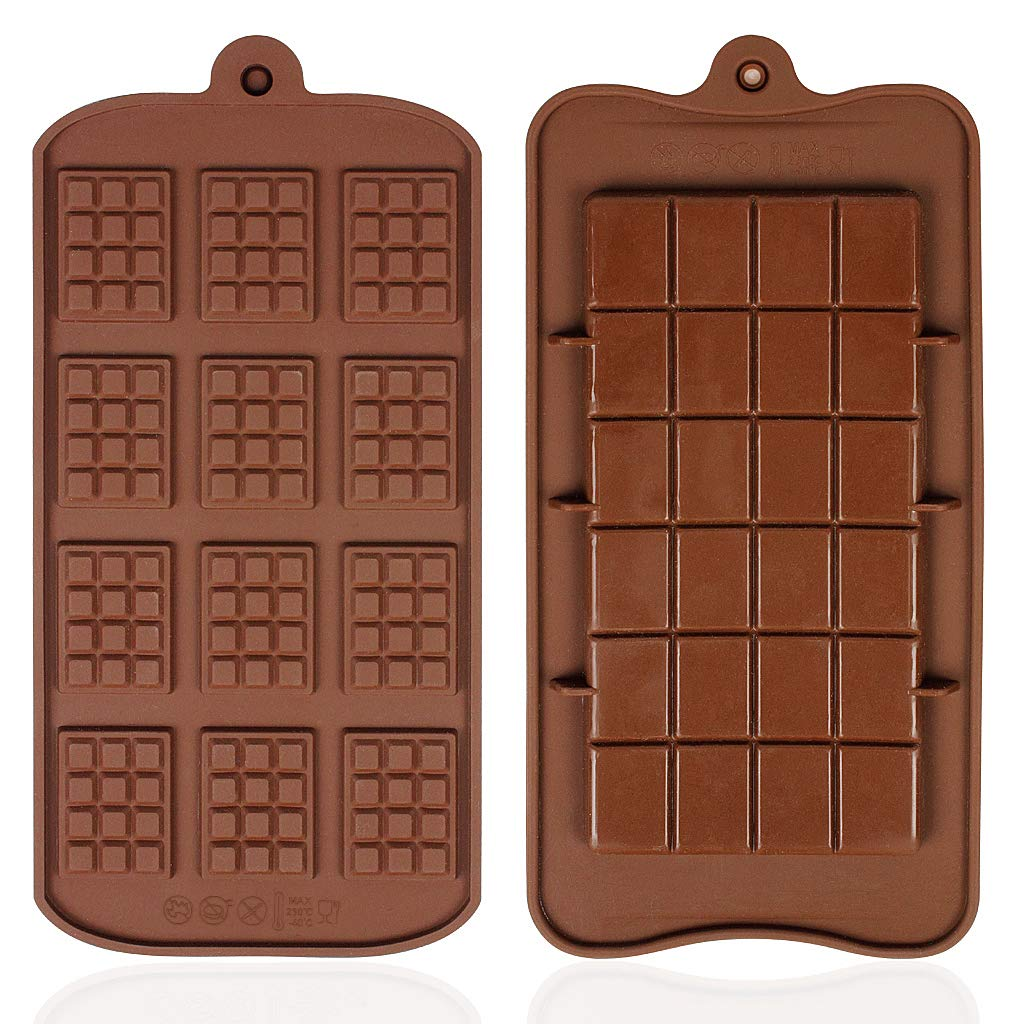 YOYUSH 2 Pcs Silicone Chocolate Moulds Non-Stick Mini Chocolate bar Mold Ice Cube Tray Jelly Candy Mould Rectangle Bakeware Mold Soap Wax Decoration Flexible Baking Mould (Brown)