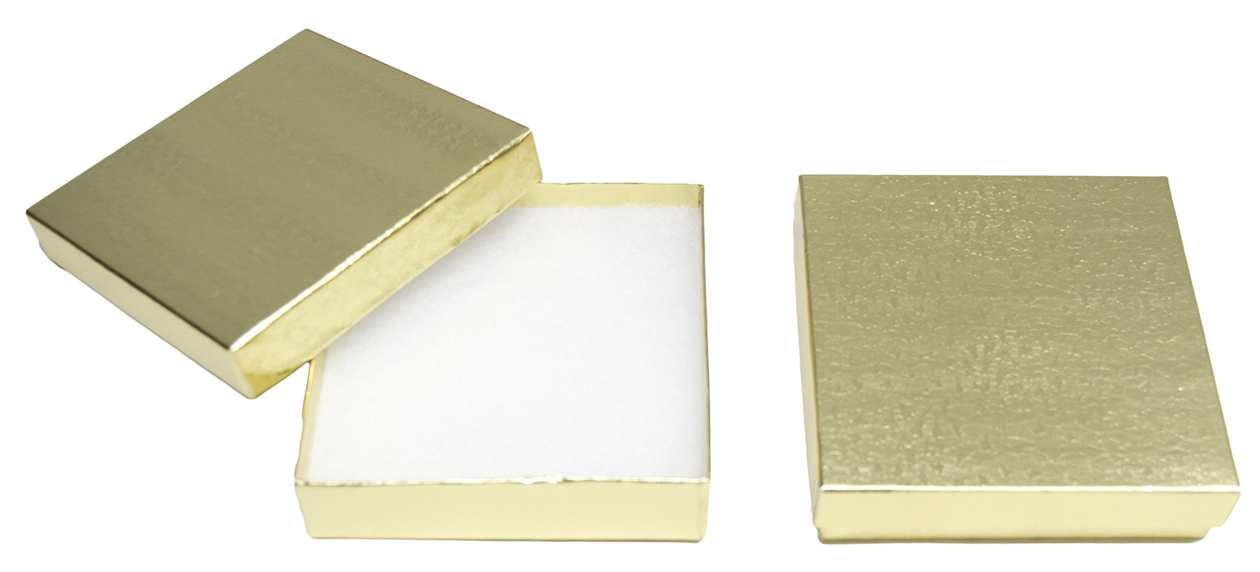 Novel Box MADE IN USA Jewelry Gift Box in Gold With Removable Cotton Pad 3.5X3.5X0.9'' (Pack of 15) + NB Cleaning Cloth