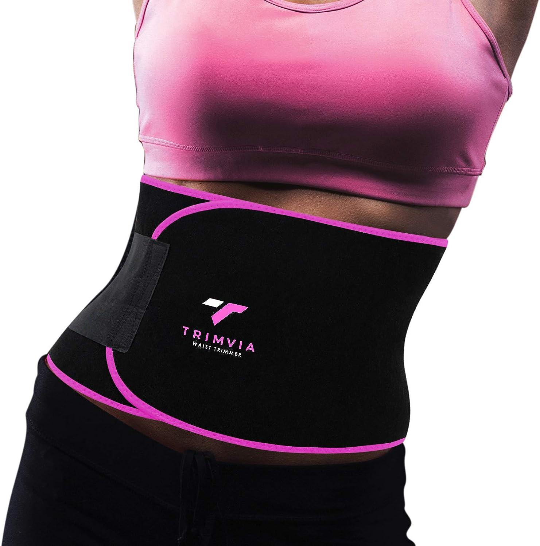 TRIMVIA Waist Trimmer for Women and Men Tummy Tuck Belt Waist Shaper Abs Stimulator Stomach Wraps Sauna Effect on Abs Premium Neoprene Sweat Belt for Women Waist Trainer for Women and Men