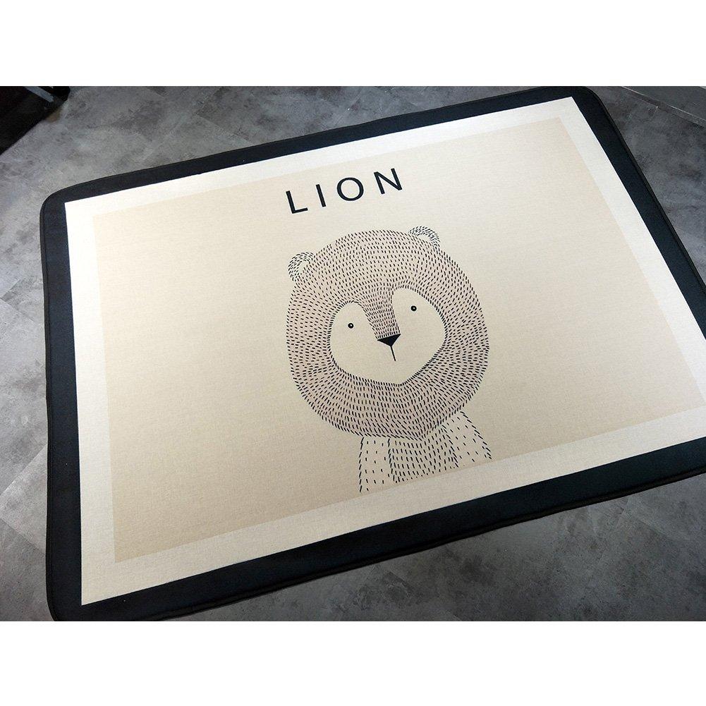 "YOHA Baby Girls Play Mat Crawling Mat Rug Soft Cotton Animals Kids Boys Playing Blanket Carpet Non-Slip Nursery Rugs Décor (77""x 57""x 0.7"", Lion) girruglion"