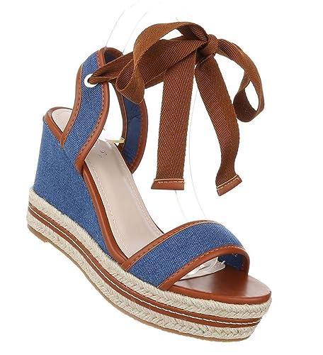 Damen 16138 36 Blau Sandaletten Schuhe Schuhcity24 uXiOkZP