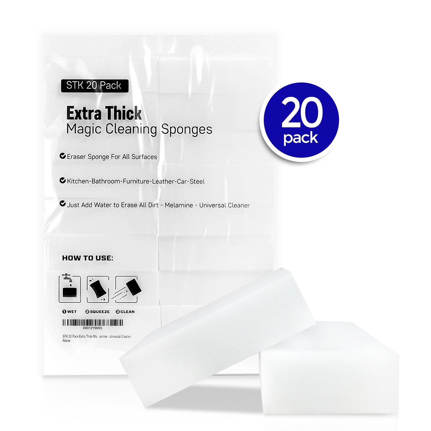 Amazon.com: STK 20 Pack Extra Thick Magic Cleaning Pads - Eraser ...