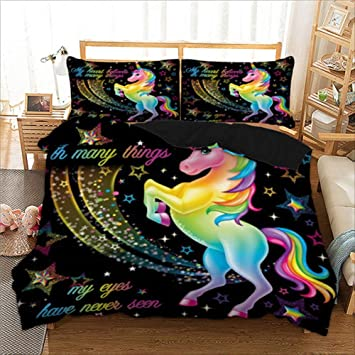 bbc0addfd9e7 Amazon.com  Unicorn Bedding Set Star Cartoon Duvet Cover Pillow Cases Twin  Full Queen King Super King Size Kids Bedclothes Bed Cover (Black)  Baby