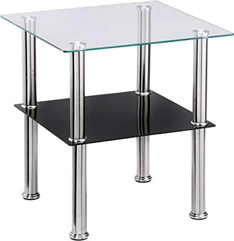 Haku mobili tavolino Acciaio Inox//Nero Vetro