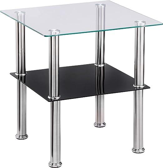 Haku Möbel mesa auxiliar, vidrio, acero inoxidable negro, 40 x 40 ...