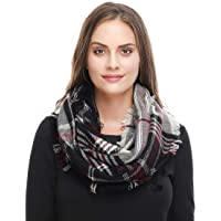 Lucky Leaf Women Winter Checked Pattern Cashmere Feel Warm Plaid Infinity Scarf