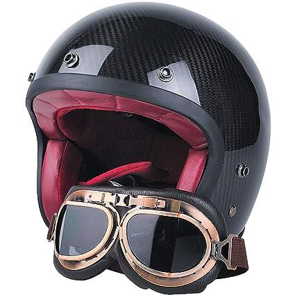 BQT Casco Retro De Motocicleta, Casco De Motocicleta Harley De Fibra De Carbono, Adecuado