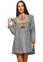 6475bb6c00b Velzera Women s Boho Vintage Embroidered Striped Tunic Dress reg   Plus Size