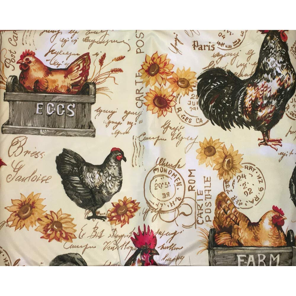 Farmers Market /& Farm Fresh 100/% Peva Vinyl Flannel Backing Plum Nellies Treasures Farm Country Rooster Tablecloth Designs Colonial Rooster Farm Fresh, 52 x 70