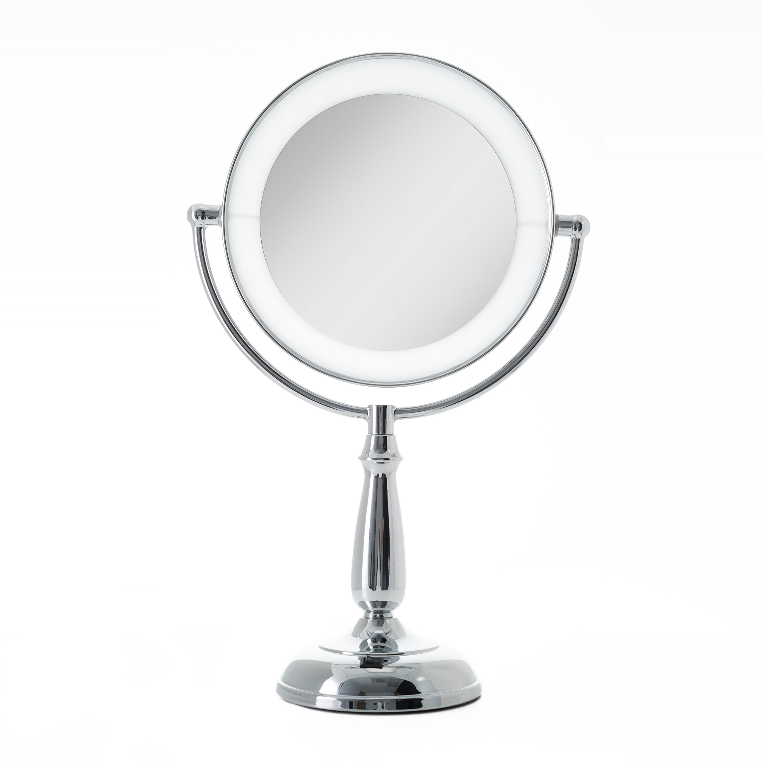 Zadro Dimmable Touch Ultra Bright Dual-Sided LED Lighted Vanity Mirror with 1X & 10X magnification in Chrome Finish.