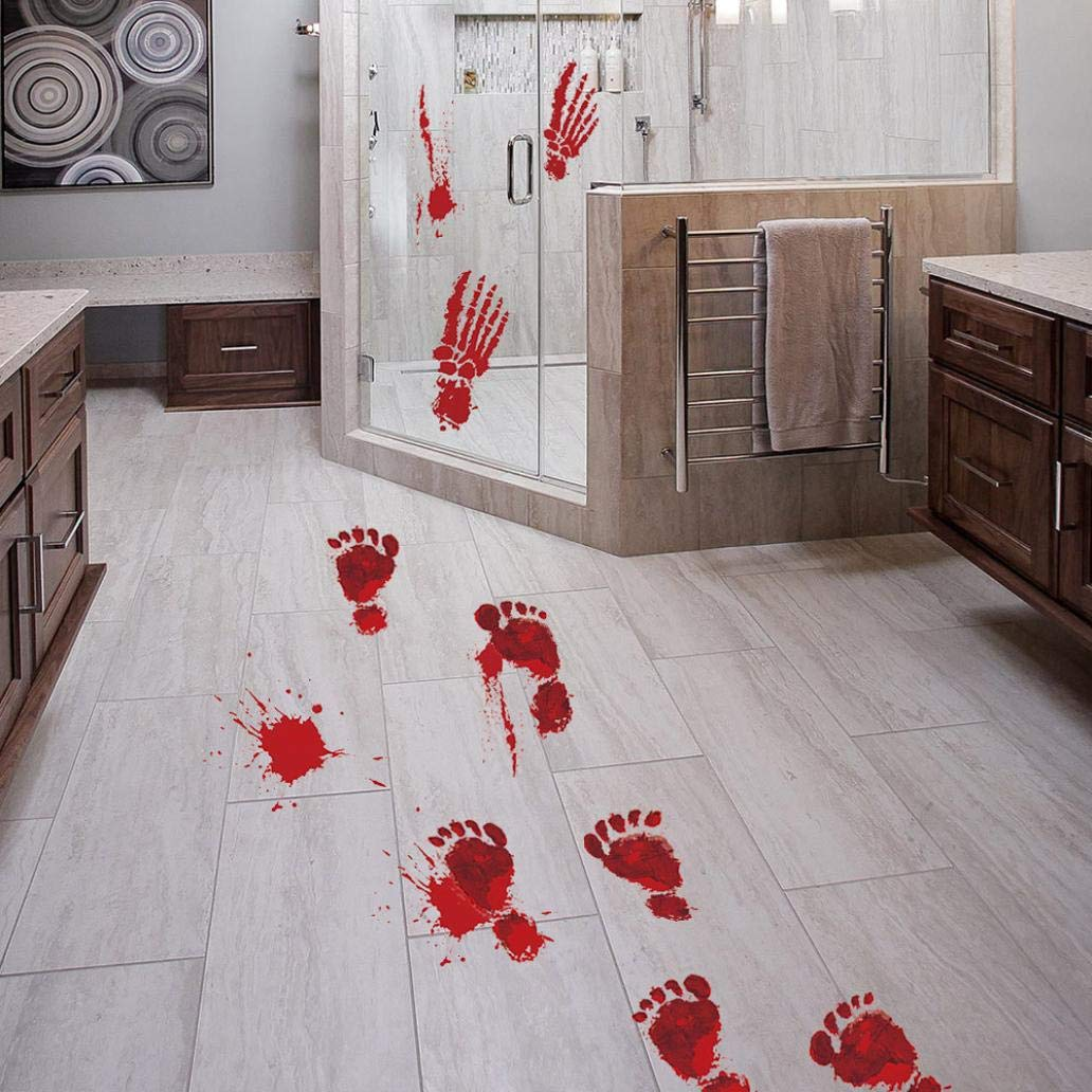 Halloween Terror Bloody Footprints Floor Clings Vampire Zombie Party Decor PVC Stickers,3 Styles (A) UPXIANG Decoration Stickers