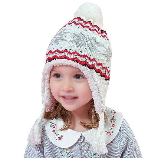 cb6b678fed5 Rebecca Kids Girl Winter Knit Hat Soft Earflap Snowflake Beanie Cap Outdoor  Ski Hat (White