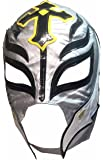 Main Street 24/7 WWE Licensed Rey Mysterio Youths Kid Size Silver With Black Trim Leather Pro Grade Mask