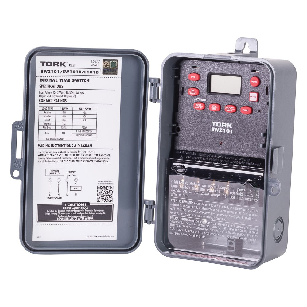 Ewz Series Multipurpose Control Astronomic 7 Day Time Switch 120 277vac Wiring 277 Vac Input Supply 1 Channel Spst Output Dry Contact Electronic Photo Detectors