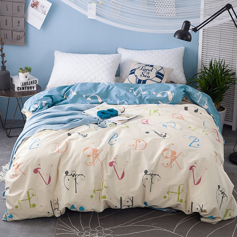 LJ&XJ Thickened luxurious duvet cover,Simple stylish quilt cover reversible cotton king&queen hypoallergenic-J 160x210cm(63x83inch)