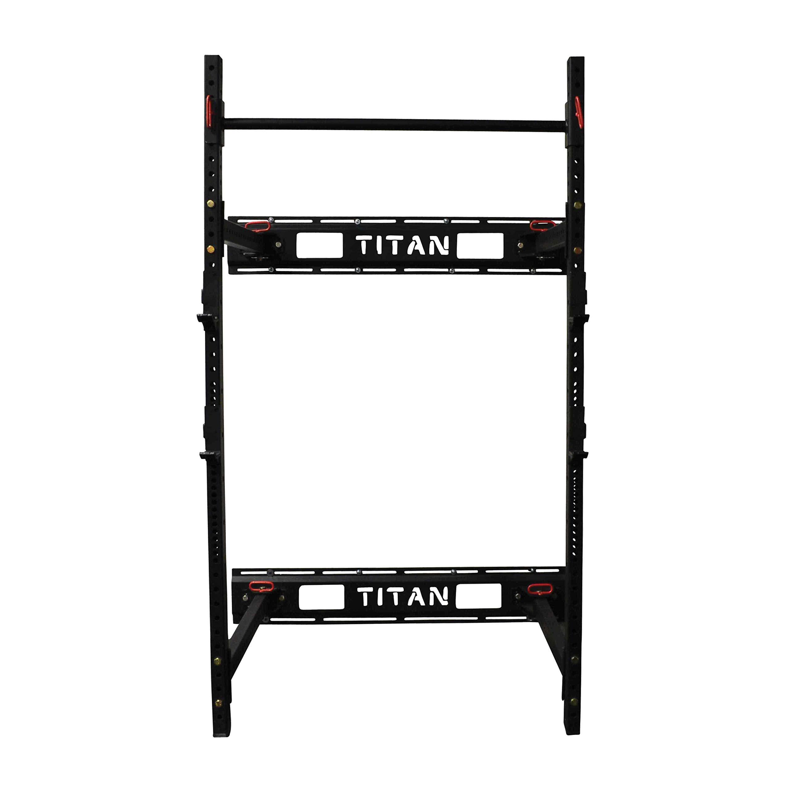 Titan Fitness T-3 Series Fold Back Power Rack 41'' Deep Wall Mounted Laser Cut