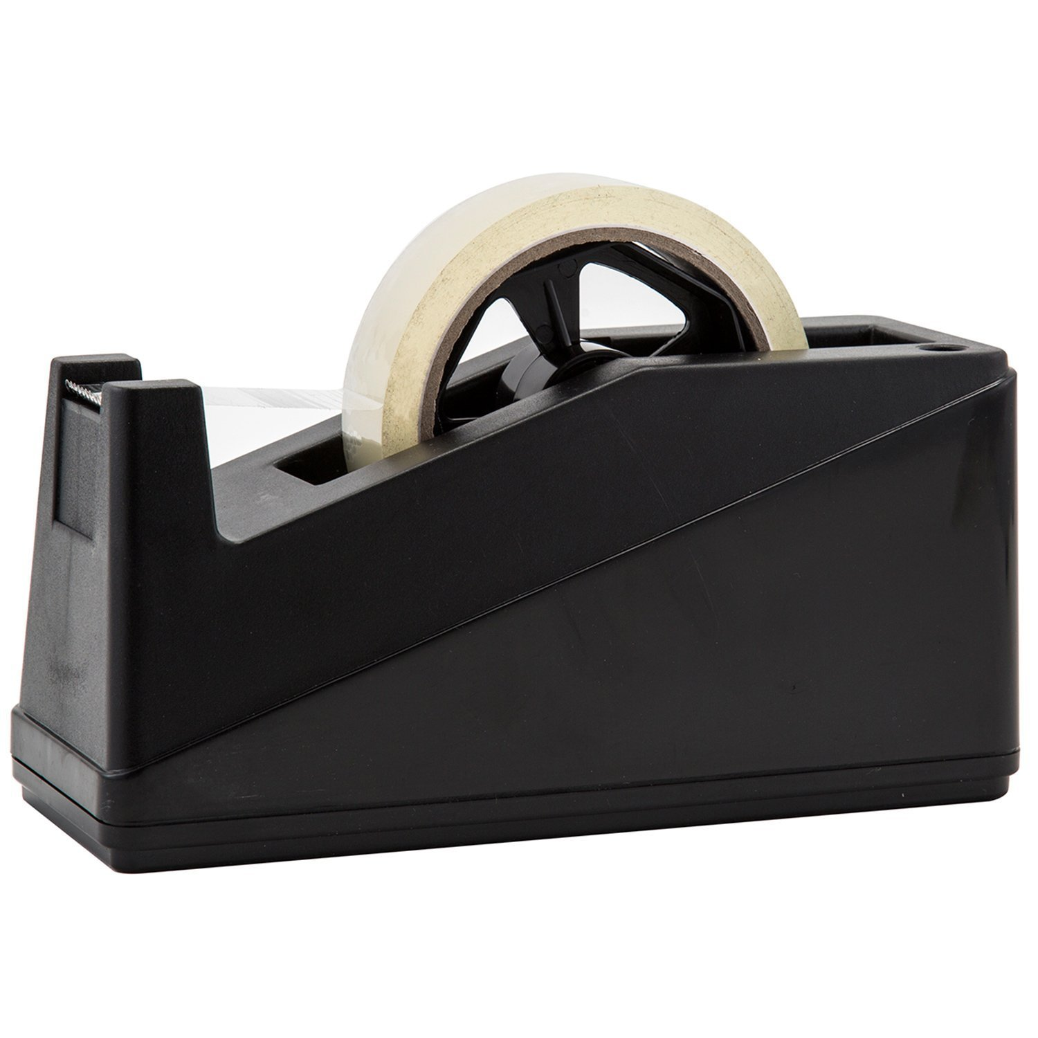 Desktop Tape Dispenser Adhesive Roll Holder (Fits 1'' & 3'' Core) by Royal Imports with Weighted Nonskid Base, Black