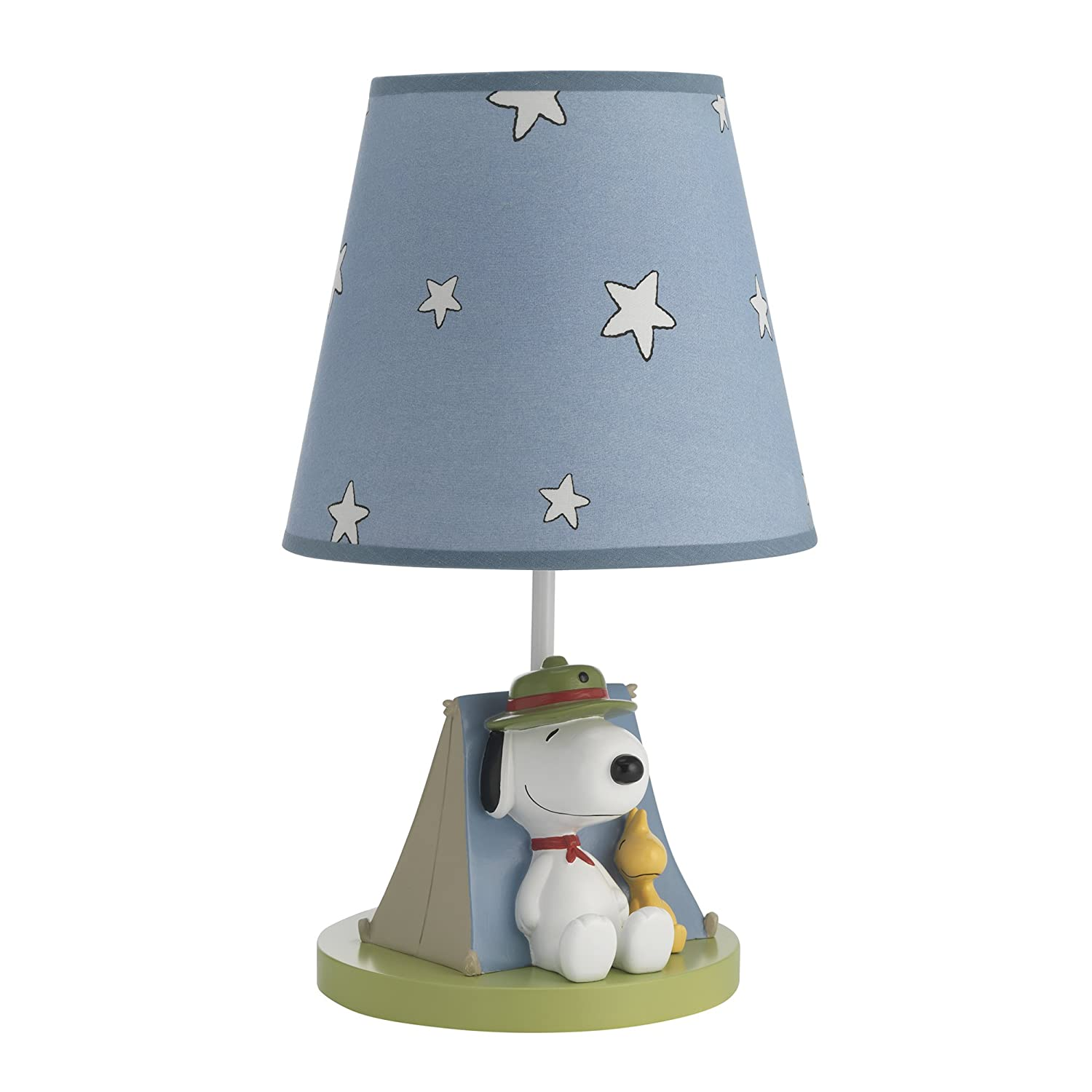 Peanuts Snoopy's Campout Stars Lamp with Shade & Bulb, Blue/White Lambs & Ivy 685024B
