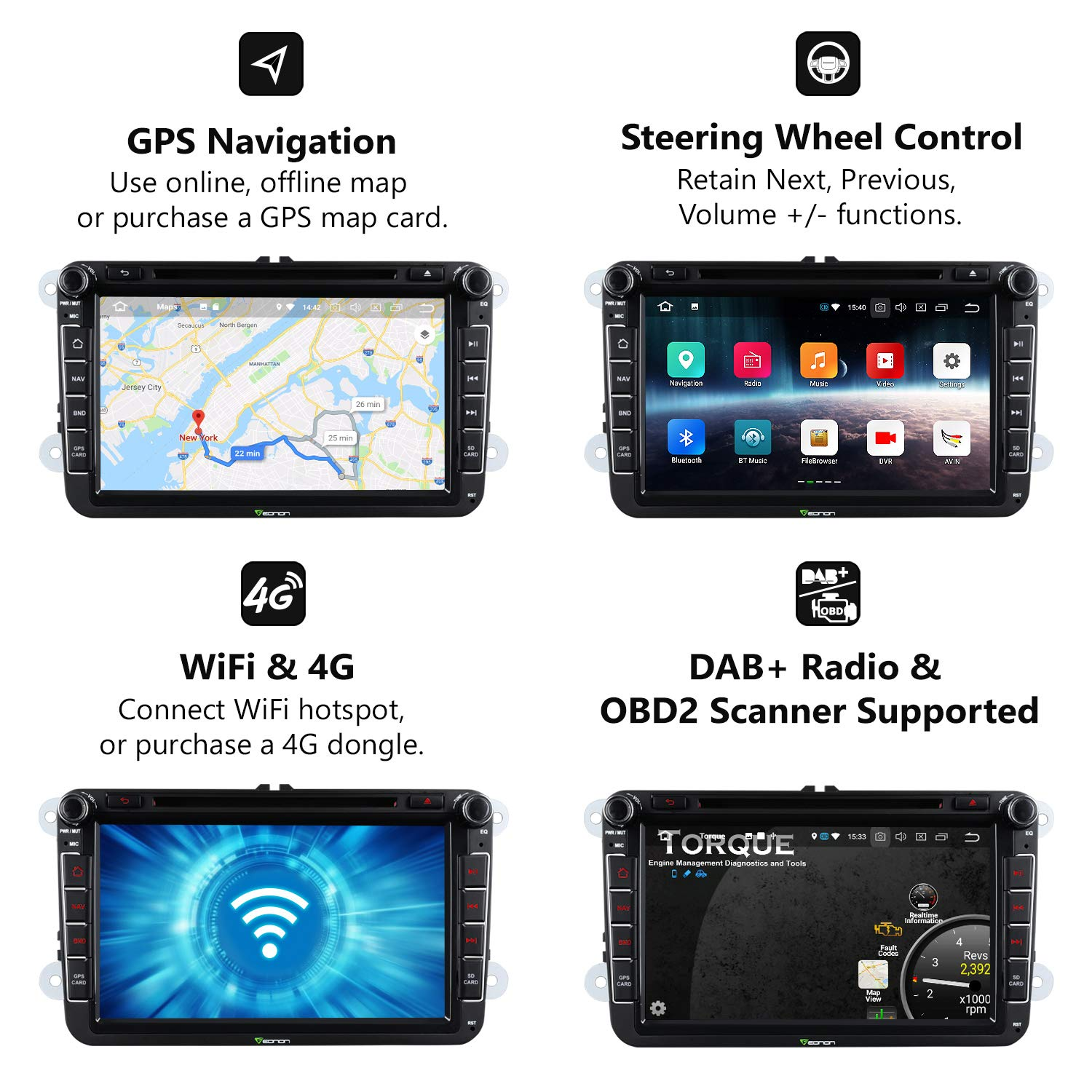 Double 2 Din Car Stereo,Eonon Dual Bluetooth Android 8.0 Car Head Unit, Applicable to Volkswagen/SEAT/Skoda 4GB RAM+32GB ROM Octa-Core 8 Inch with Bluetooth Split Screen,Fastboot-GA9153A by Eonon (Image #4)