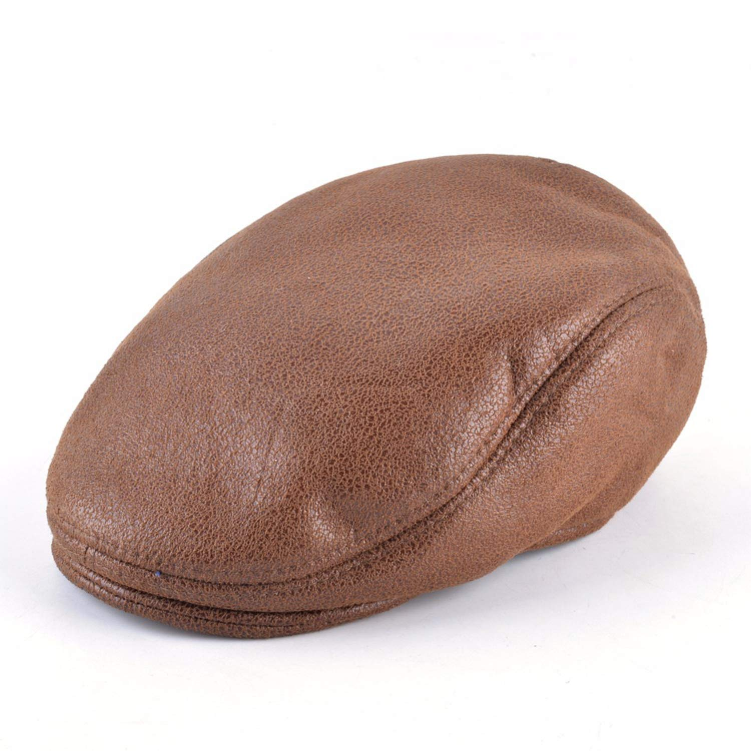 Autumn Winter Faux Leather Beret Hats Women Double Layer Thick Unisex Flat Visor Solid Newsboy Berets Boina