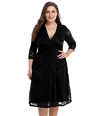 Blivener Womens Plus Size Lace Bridal Skater Wedding Party Mother Dress Black UK 12