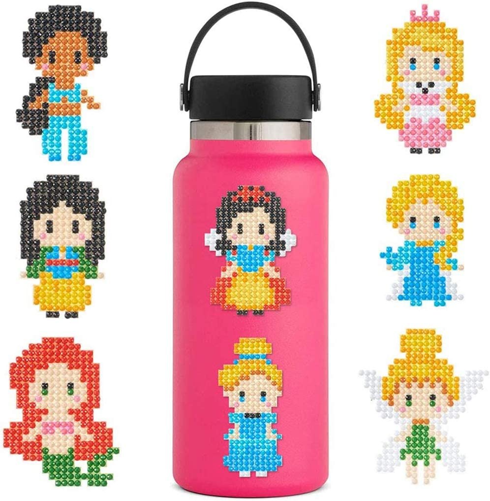 Supzone Diamond Painting Stickers Kits for Kids,Easy 5D Princess Diamond Art DIY Girls Mosaic Stickers by Numbers Kits 8 Pieces