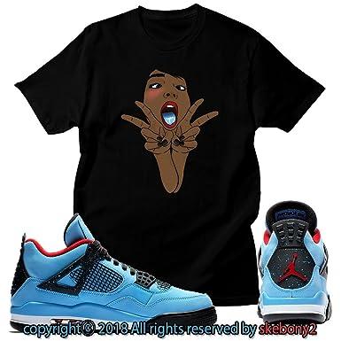 65628eef651b68 Custom T Shirt Matching Travis Scott x Air Jordan 4 Cactus Jack JD 4-1-10  at Amazon Men s Clothing store
