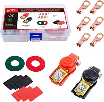 ZYXY Red Black 12v Car Battery Terminal Clamp Positive Negative Battery Cable Quick Release Terminal connectors with 6 Heavy Duty Copper Ring Wire Lugs for Car Truck