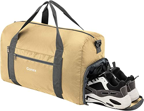 Gonex Foldable Travel Duffel Bag Sports Duffle Bag with Shoe Compartment for Boarding Airline, 40L Lightweight Carry on Weekenderd Bag for Travel Gym Storage, Gold