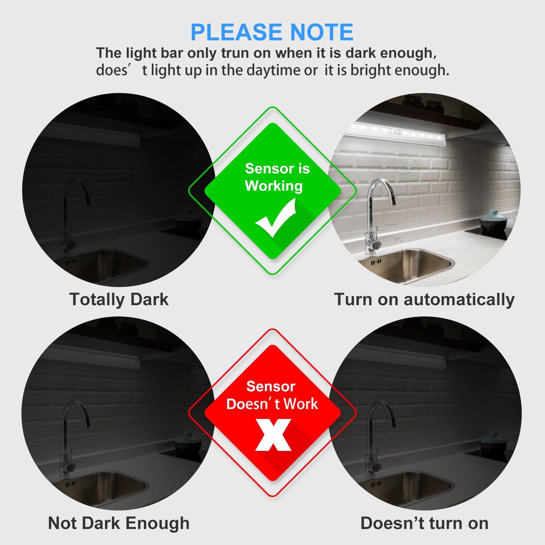 Lámpara LED del Armario, Beauty Star 10 LEDs-3 Modos de Luz Barra de Luz Inalámbrica con Sensor de Movimiento Lámpara Inalámbrica Nocturna para Gabinete, ...