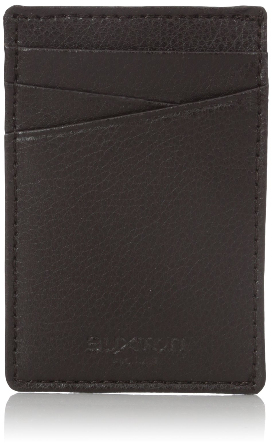 Buxton Men's Addison RFID Blocking Leather Front Pocket Money Clip Wallet, Brown, One Size