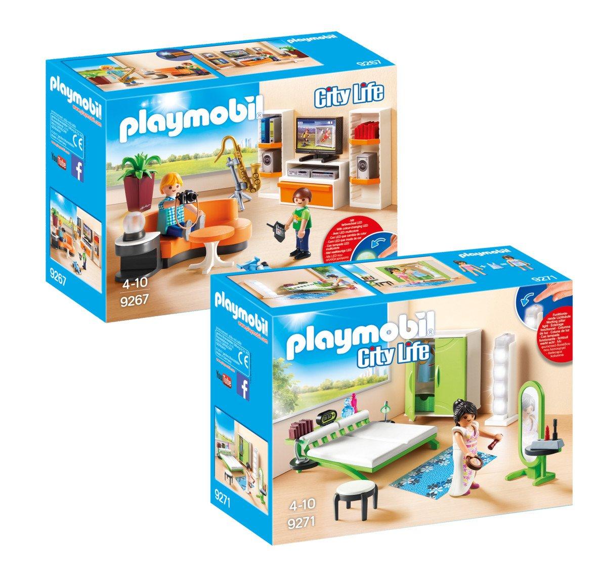 Playmobil Villa Moderna Set: 9267 Soggiorno Con Mobile Tv + 9271 Camera da Letto Geobra Brandstätter GmbH