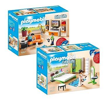 PLAYMOBIL Modernes Wohnhaus Möbelset: 9267 Wohnzimmer + 9271 ...