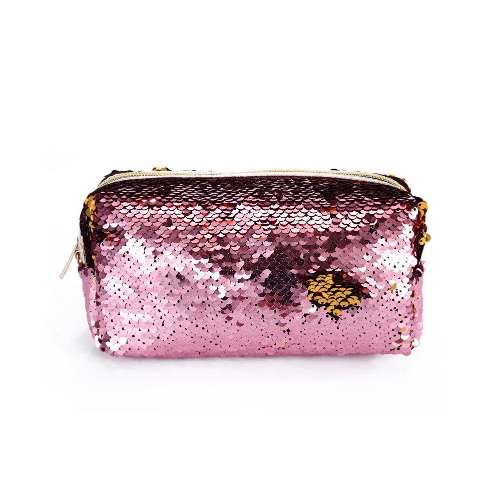 Xuxuou Cosmetic Bag Girls Makeup Bags, PU Toiletry Bag Sequin Handbag Organizer PVC Travel Holiday Pouch for Shampoo