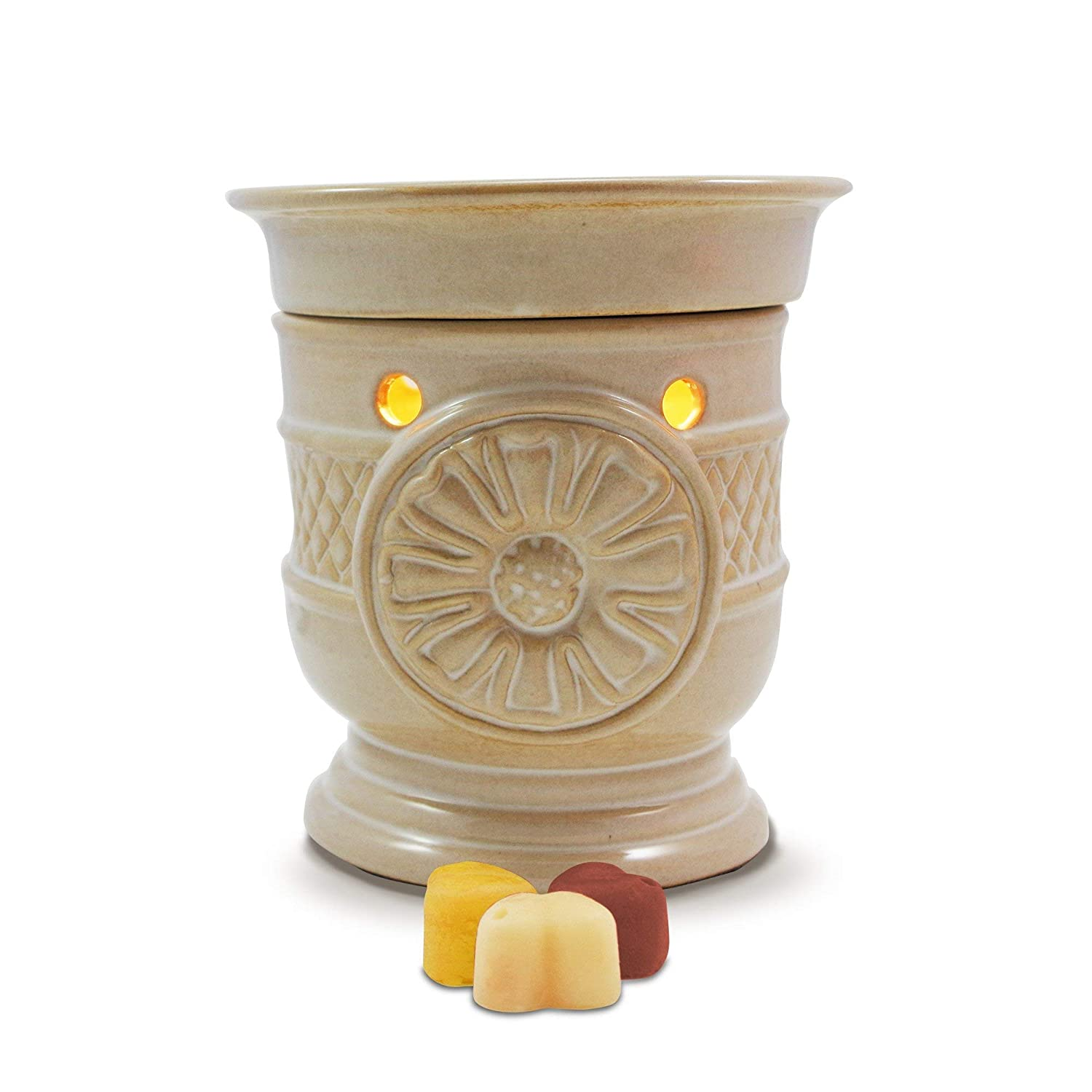 Warmer with Light and Three Scrumptious Wax Fragrances One size Owlchemy Sunflower Electric Tart Burner Beige