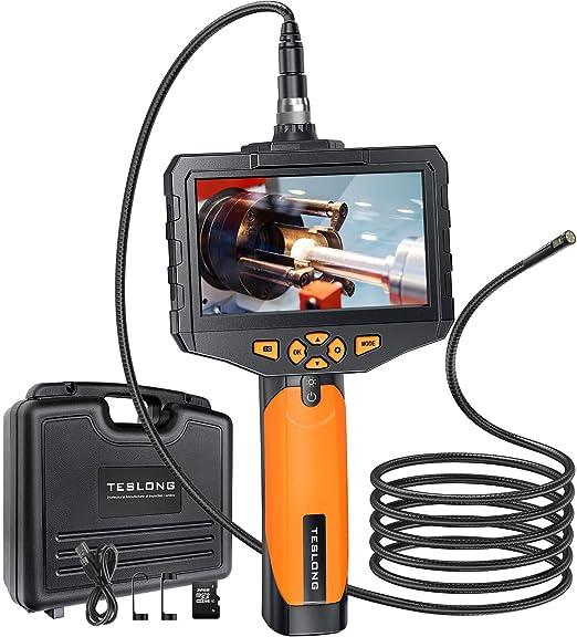 Teslong Zwei Linsen Endoskopkamera Hand Industrie Endoskop Mit 4 5 Zoll Farb Ips Monitor 1080p Wasserdichte Inspektionskamera Rohrkamera Mit 6 Led Licht 32g Tf Karte Werkzeugkasten 5 M 16 4 Ft Auto