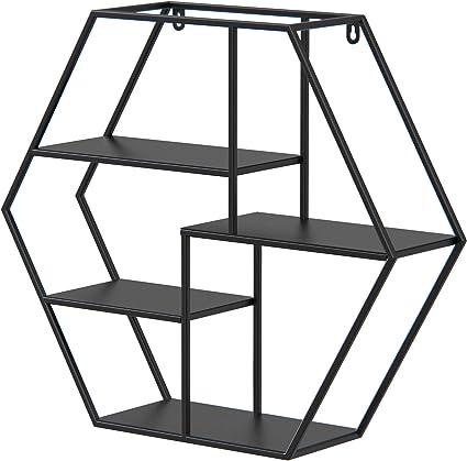 Estantería de Pared de Metal con 4 estantes, (70*20*59cm)Forma Hexagonal, Diseño Vintage Industrial, para almacenaje de Libros, Fotos, Botellas, ...