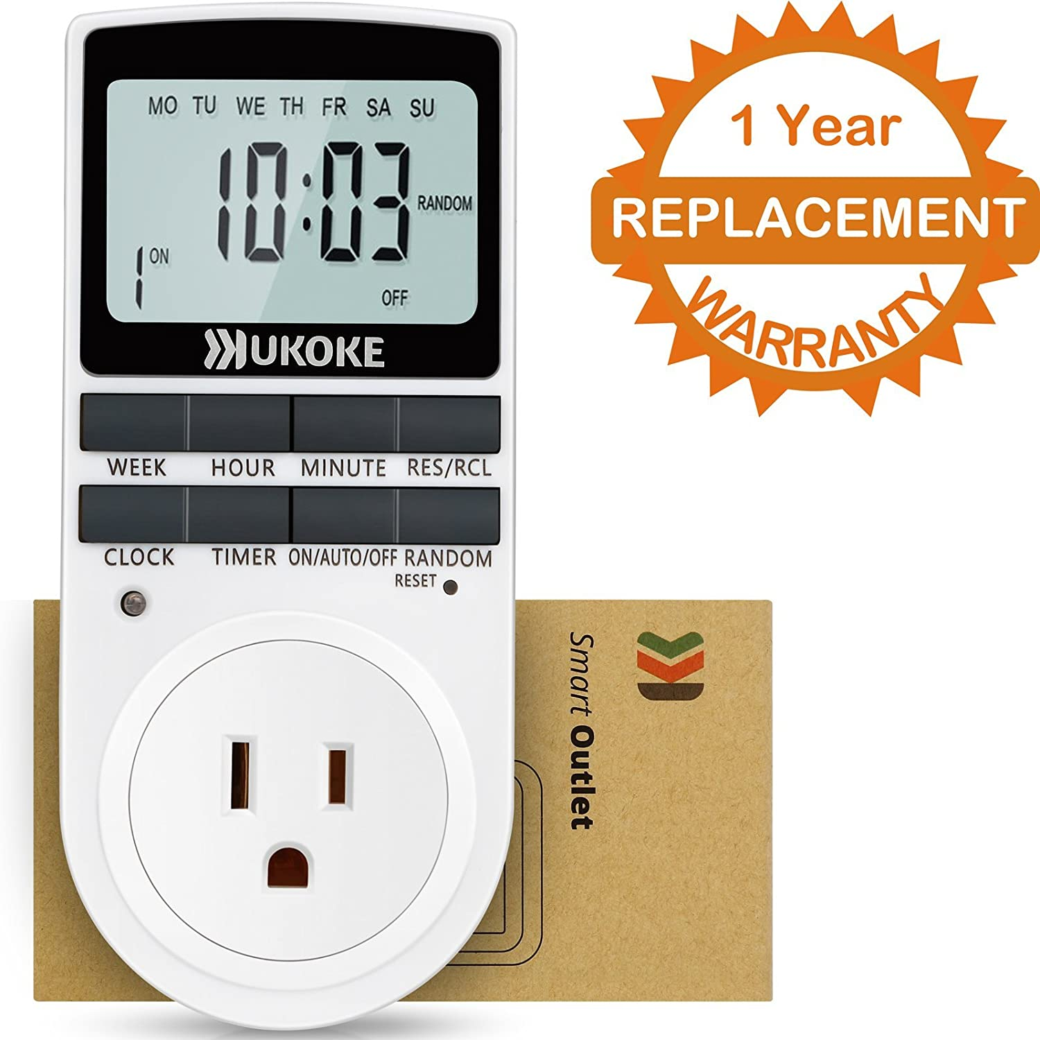 UKOKE UTM01WFBA UTM01W, Appliance, 7 Day Weekly Programmable Outlet, Wall Switch, Digital Light, Plug-in Timer for Electrical Outle (1 Pack)