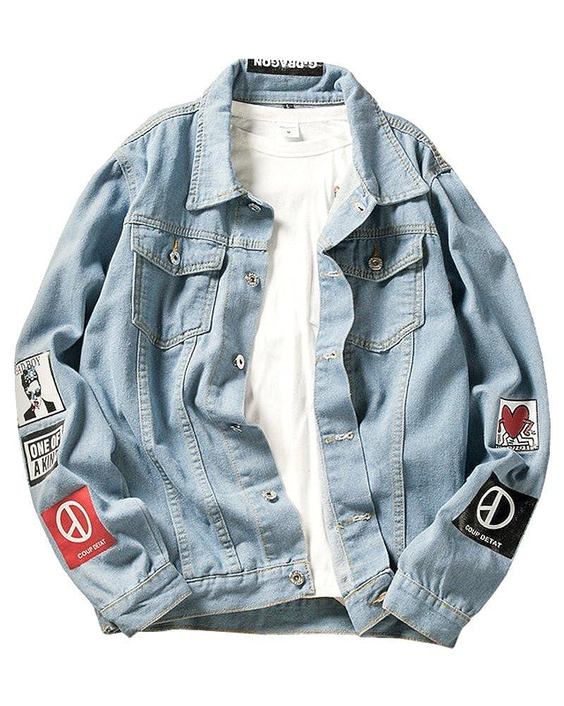 ShiFan Giacca Di Jeans Oversize Uomo Casual Denim Giubbino Taglie Forti