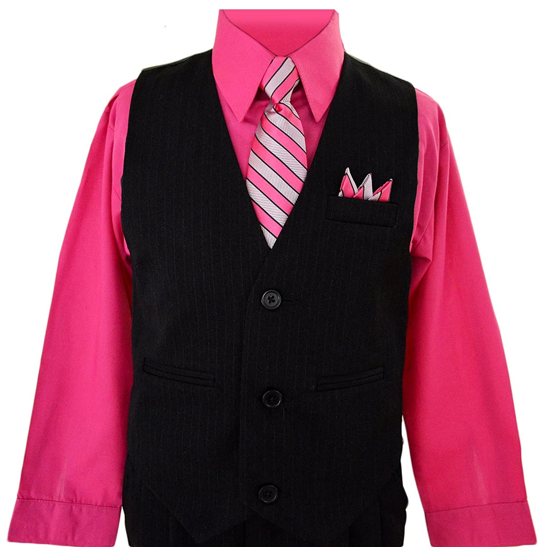 Amazon.com: Boys Toddlers Fuchsia Pink Pinstripe Vest Suit Dress ...