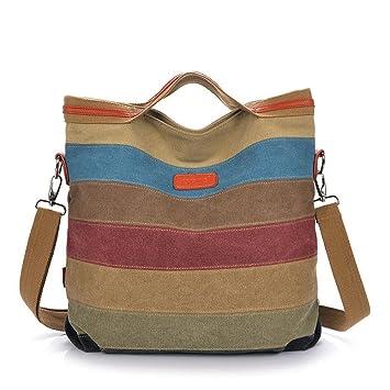 Amazon.com : Tanchen Women Casual Stripe Canvas Handbags Micro ...