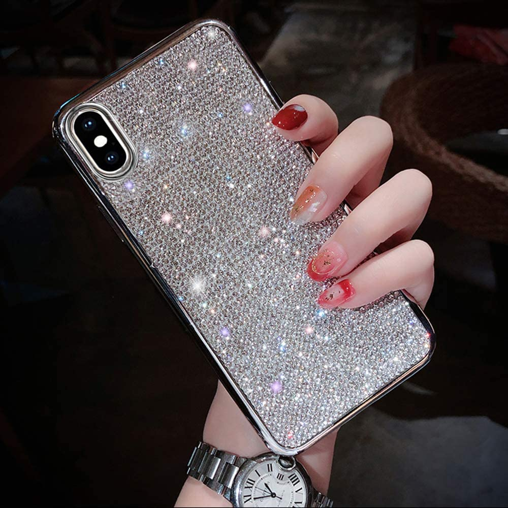 Fusicase for iPhone Xs Max Case Luxury Fashion Glitter Sparkle Bling Glossy Crystal Rhinestone Artificial Diamond Protective Cover with Soft TPU Electroplate Case for iPhone Xs Max Silver