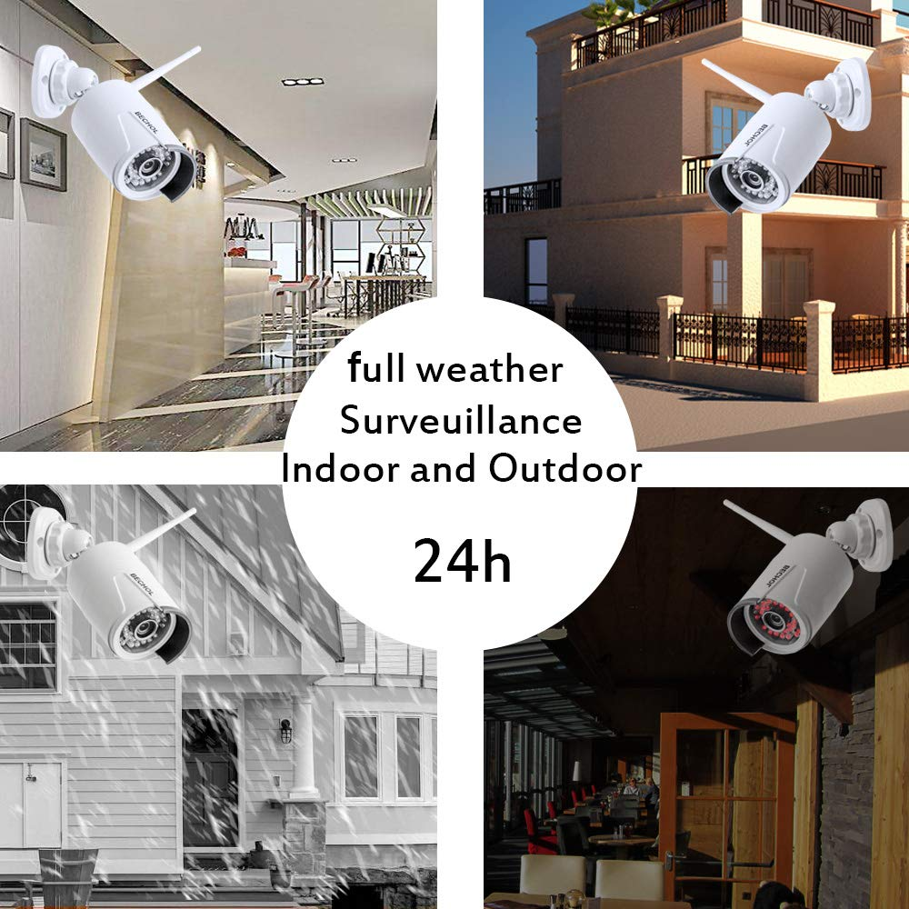 500GB Hard Drive Bechol Wireless Home Security Camera System with 12LCD NVR Monitor Night Vision PIR Motion Detection 4 Channel 1080P WiFi Surveillance Kit with 2PCS Waterproof CCTV IP Cameras