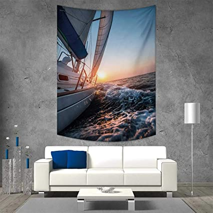 Smallbeefly Nautical Home Decorations Living Room Bedroom Sail Boat In The Sea Waves Toward Sunset Marine