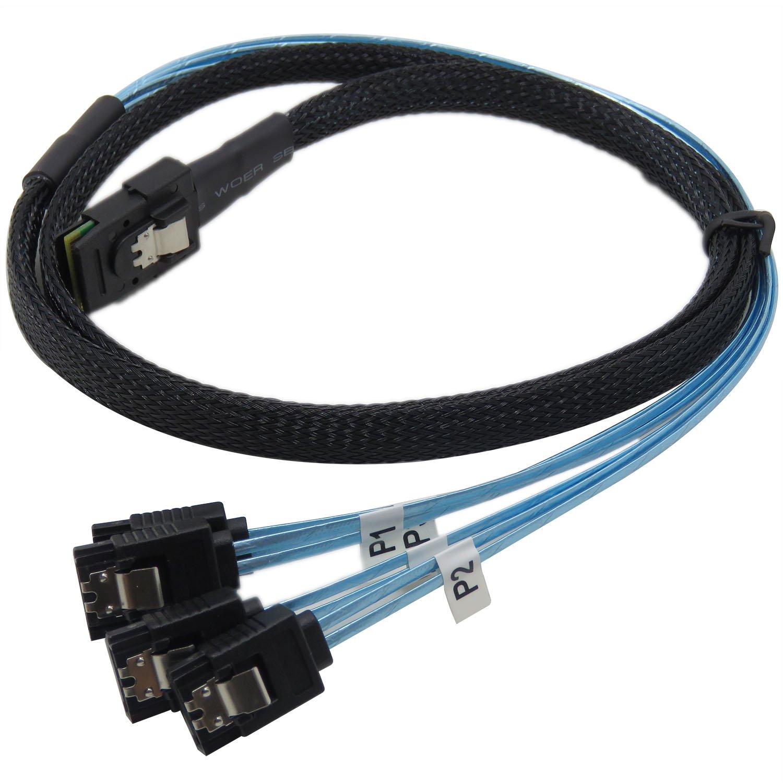 YIWENTEC Mini SAS 36p SFF-8087 vers 4 SATA Cible disque dur connecteur c/âble de donn/ées 0,5 m
